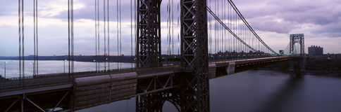 Panoramic view of George Washington Bridge over Hudson River from New York City, NY Royalty Free Stock Image