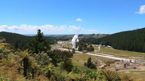Panoramic view of geotermal power station Royalty Free Stock Image