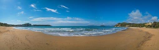 Gerakas beach panorama. Panoramic view of the Gerakas Beach which is a sea turtle nesting site summer, Zante Island, Greece stock image