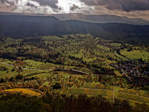 Panoramic view Swabian Alps landscape and vineyards at fall. Panoramic view over a wine-growing region in the Swabian Alps in Germany by a sunny day at fall Royalty Free Stock Photography