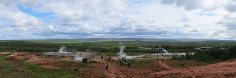 Panoramic view of Geysir area on Iceland Stock Photo