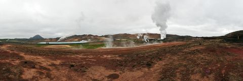 Panoramic view of Geysir area on Iceland Stock Photos