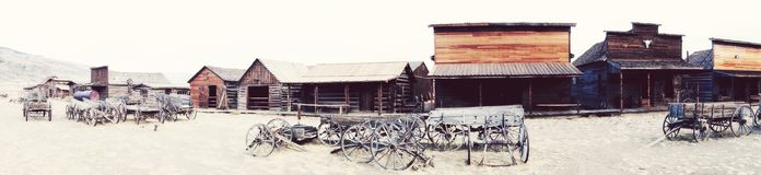 Panoramic view of Ghost Town, Cody, Wyoming, United States. The Old Town Trail, in Cody, Wyoming, is a collection of historical buildings and artefacts marking Stock Images