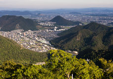 Panoramic view of Gifu city. From the top of Gifu castle on Mount Kinka stock image