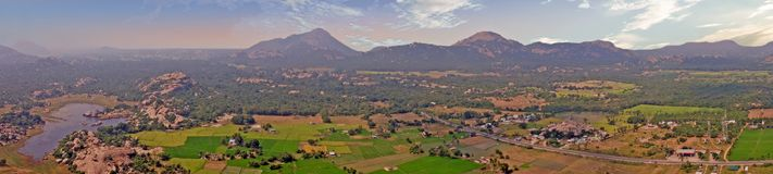 Panoramic view from Gingee Fort, Thiruvannamalai in Tamil Nadu India. Known as the `Troy of the East` by the British, Gingee Fort rises out of the Tamilian stock photos