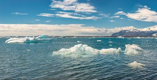 Panoramic view of Glacier Lagoon, Jokulsarlon, on South Iceland, summer time, sunny day royalty free stock photography