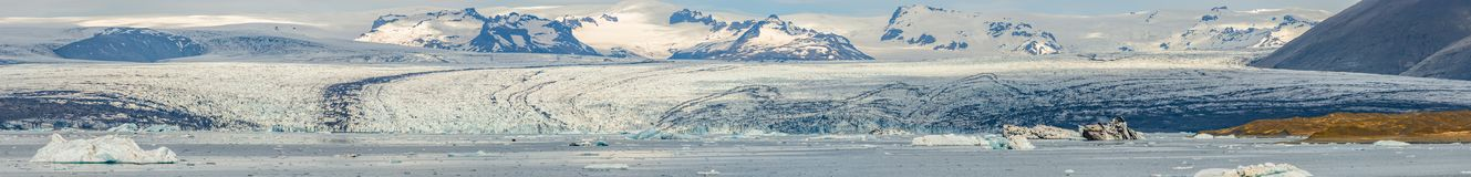 Panoramic view of Glacier Lagoon, Jokulsarlon, on South Iceland, summer time, sunny day royalty free stock images