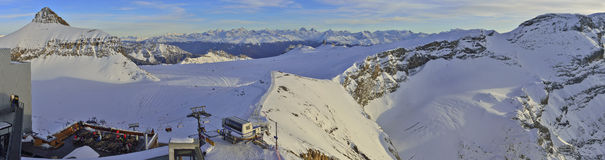 Panoramic view of Glacier 3000 Les Diablerets,Gstaad. Panoramic view of ski traks from Glacier 3000 Les Diablerets,Gstaad Stock Photos