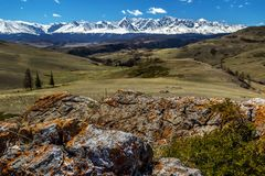 Panoramic view on glacier mountains. Somewhere deep within Altai mountains, Russia Stock Photography