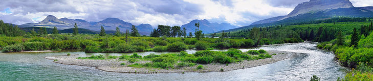Panoramic view of the Glacier National Park Royalty Free Stock Images
