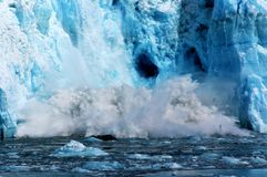 Beautiful blue glacier calving stock photography