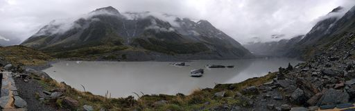 Panoramic view of glaciers and lake in Mount Cook Royalty Free Stock Image