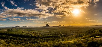 Panoramic view of Glass House Mountains at sunset visible from W Royalty Free Stock Image