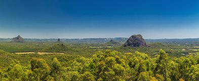 Panoramic view of Glasshouse Mountains on the Sunshine Coast fro. M Beerburrum, Queendsland, Australia Stock Photos