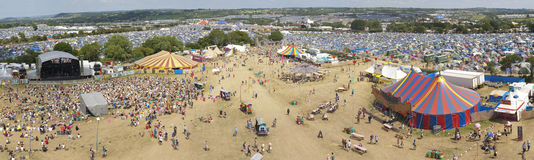 Panoramic View of the Glastonbury Festival Site Stock Photo