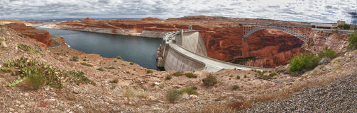 Panoramic view of Glen Dam in Page, Arizona Stock Image