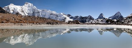 Panoramic view from gokyo valley near mount Cho Oyu Royalty Free Stock Photos