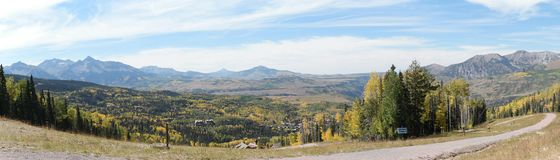 Panoramic view of gold autumn in colorado Royalty Free Stock Image