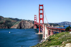 Panoramic View of the Golden Gate Bridge in San Francisco, California Stock Photo