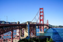 Panoramic View of the Golden Gate Bridge in San Francisco, California Stock Photo