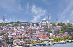 Panoramic view of Golden Horn from Galata tower, Istanbul Stock Images