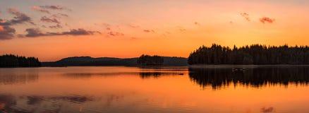 Golden lake sunset panorama royalty free stock photos