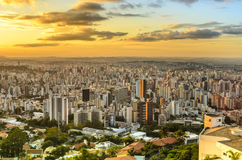 Panoramic view of golden  sunset in city  Belo Horizonte , Brazil . Royalty Free Stock Images