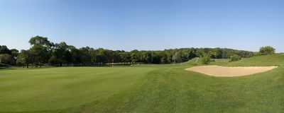 Panoramic view of a golf course. Royalty Free Stock Photo