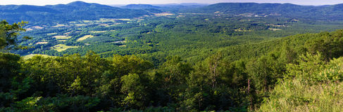 Panoramic View of Goose Creek Valley. A panoramic view of Goose Creek Valley (elev. 2372 ft.) from Montvale Overlook on the Blue Ridge Parkway, Virginia, USA Stock Photo