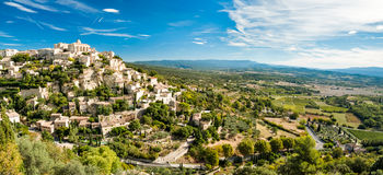 Panoramic view of Gordes and landscape in France Stock Photography