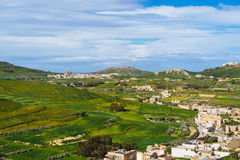 Panoramic view of Gozo Island. Green landscape of Gozo Island, Maltese archipelago Royalty Free Stock Photography