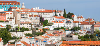 Panoramic View of Graca district in Lisbon Royalty Free Stock Photos