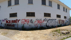 Panoramic view of graffiti on a wall in Lyon, France Stock Photo