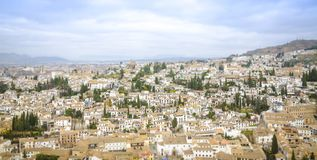 Panoramic view of Granada. Spain. Nice view from to mountains to the city of Granada in Spain royalty free stock images