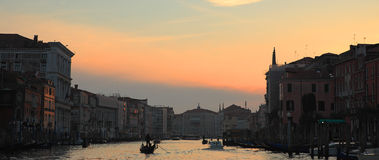 Panoramic view on Grand Canal at sunset. Stock Photos