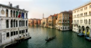 Panoramic view on Grand Canal in Venice. Panoramic viewon Grand Canal among old historic buildings in Venice, Italy Royalty Free Stock Image