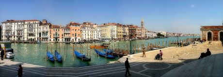 Panoramic view on Grand Canal in Venice, Italy. Royalty Free Stock Photos