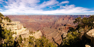 Panoramic view of Grand Canyon on sunny day. Royalty Free Stock Image