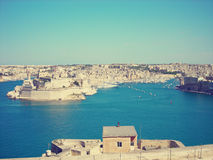 Panoramic view on the Grand Harbor of Malta; faded, retro style Stock Photos