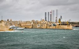 Panoramic View on Grand Harbour, Paola, and Heavy Industry Complex royalty free stock images