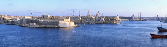 The panoramic view of the Grand Harbour Port of Valletta.  Mal Stock Images
