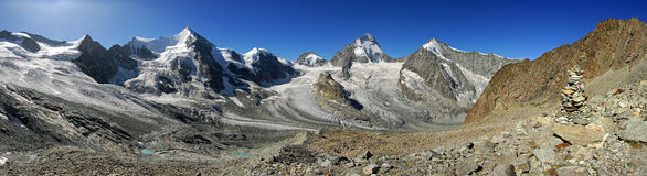 Panoramic view from the Grand Mountet. Panoramic view as seen above the Gtrand Mountet - Wallis Royalty Free Stock Photos