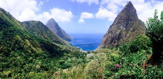 Panoramic view of the Grand Piton and ocean Stock Photo