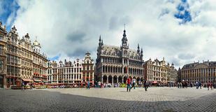 Panoramic view of the Grand Place in Brussels, Belgium. Royalty Free Stock Image