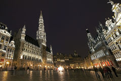 Panoramic View of Grand Place in Brussels Stock Image
