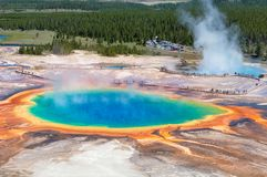 Grand Prismatic Spring in Yellowstone National Park. Panoramic view on Grand Prismatic Spring in Yellowstone National Park stock photography