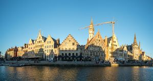 Panoramic view of the Graslei Grass Quay in the historic city center of Ghent, Belgium royalty free stock photography