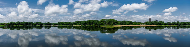 Panoramic view of Grays Lake in Des Moines, Iowa Royalty Free Stock Photos