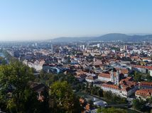 Panoramic view of Graz in Austria. View of Graz in Austria with the Church of Our Lady of Succor (Mariahilferkirche) in the front Royalty Free Stock Image