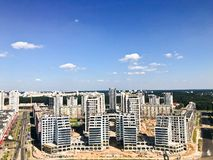 Panoramic view from a great height on the beautiful capital, a city with many roads and high-rise buildings. View of the city stock photo
